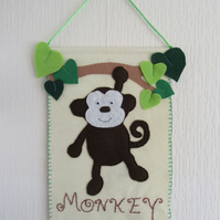 Monkey nursery decor, safari animal wall hanging,