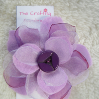 purple flower hair clip