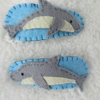 Dolphin hair clips, toddler hair accessories