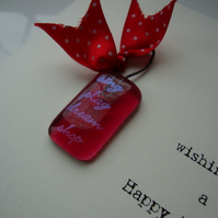 birthday card with fused glass hanger