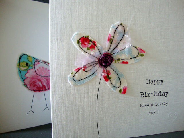 happy birthday card fabric flower