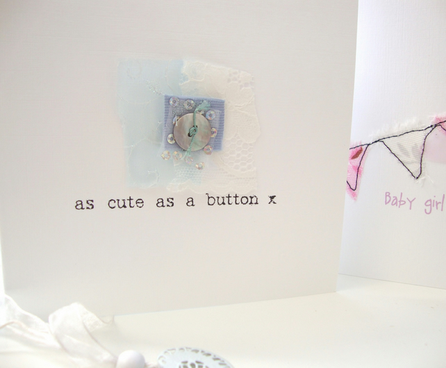 new baby boy card with button