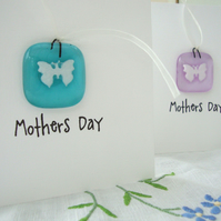 mothers day card with fused glass hanger `keepsake