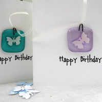 birthday card with fused glass butterfly hanger
