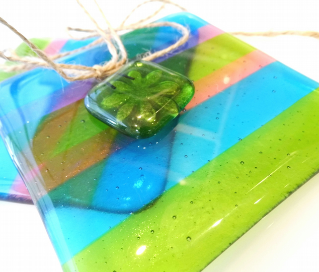 fused glass coaster