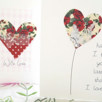 valentines day card fabric handmade
