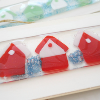 beach huts fused glass hanger