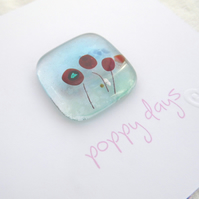 fused glass poppy card