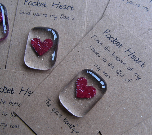 fused glass pocket heart