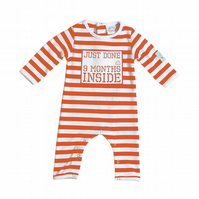 Baby Shower Gift :Just Done 9 Months Inside newborn baby grow Orange and White
