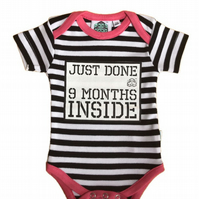 Funny Baby Vest - 9 Months Inside - Baby Shower Gift - Pregnancy Reveal - Coming