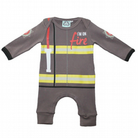 Baby Fancy Dress Outfit - Fireman Baby Grow by Lazy Baby- Baby Shower Gift