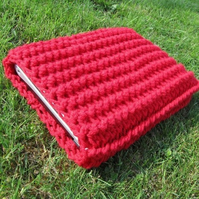 13 inch netbook / mini laptop crocheted sleeve in red