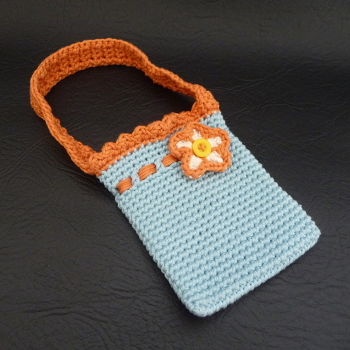 Girls crochet sky blue and orange flower bag