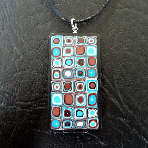 Polymer clay pendant - blue and brown