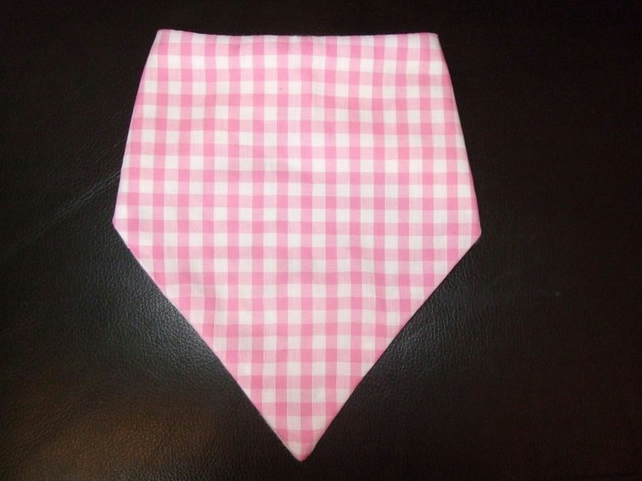 Baby Girl's Bandana Dribble Bib Pink Gingham Check
