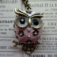 Sweet Sparkly Pink Owl Necklace