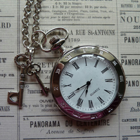 Shiny Silver Pocket Watch Necklace