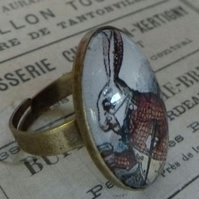 'I'm Late' White Rabbit Ring