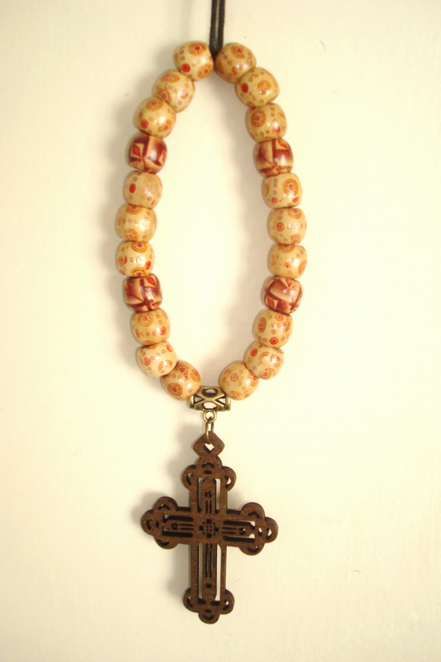 Car Mirror Hanging Beaded Cross Rosary Ornament Folksy