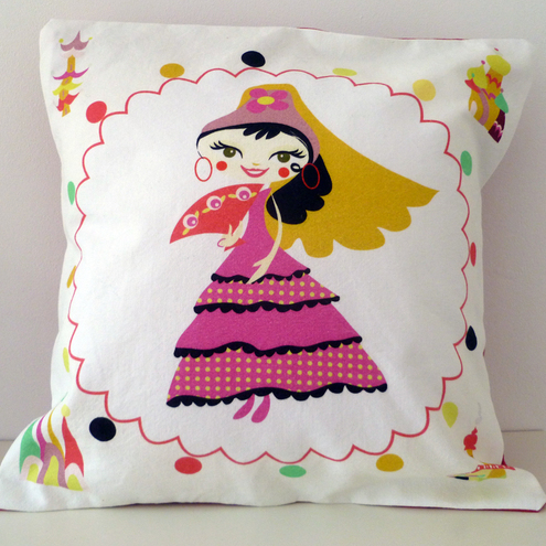 Spanish Flamenco Dancer Cushion