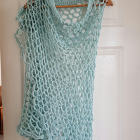 Crochet Shawl, summer shawl, handmade shawl,summer Wrap in duck egg blue
