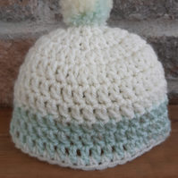 Handmade crochet baby hat, newborn baby beanie,cream and green,bobble hat