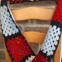 Handmade Crochet mens,womens Scarf Red, White and Blue Granny Square