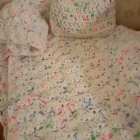 Handmade white multicolour crochet Baby Blanket and Hat Set,nursery gift