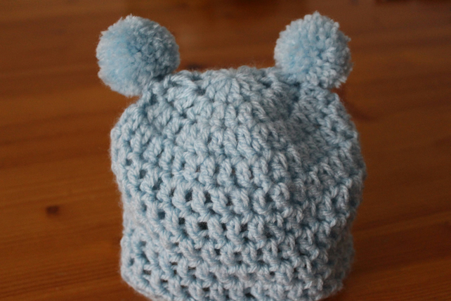 Handmade Crochet baby hat, 0-3 months in blue with pom-pom ears,newborn gift