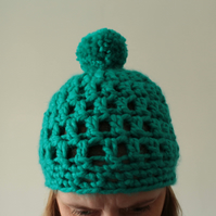 Handmade Crochet ladies beanie hat with bobble, green pompom, ladies gift,