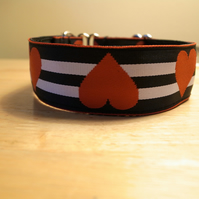 Black, White & Red Hearts and Stripes Martingale Collar