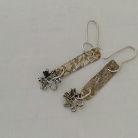 Sterling Silver Flower Drop Earrings by Patsy at Midastouch Jewels
