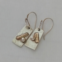 Silver and Gold Estuary Earrings made by MidasTouch Jewels in Wales