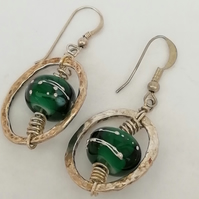 Sterling Silver Hoop Drop Earrings with Handmade Glass Bead by Patsy