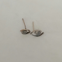 Sterling Silver Textured Stud Earrings by Patsy from MidasTouch Jewels