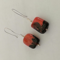 Flamework Glass redBlack drop earrings by MidasTouch Jewels in Wales