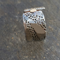 Ring Handmade Silver and Gold Stamped by MidasTouch Jewels in Wales ideal as a w