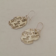 Silver Love Earrings by MidasTouch Jewels in Wales