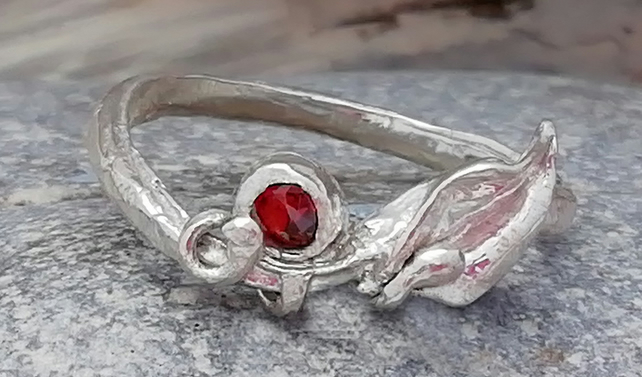 Stunning Delicate Silver or gold Ruby Ring by MidasTouch Jewels