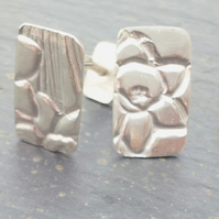 Fine Silver Cufflinks Daffodil by MidasTouch Jewels in Wales