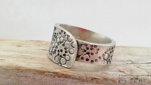 Chunky handmade Stamped wrap over Silver or Gold Wedding Dress Ring