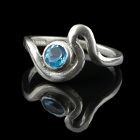 Sterling silver ring Estuary set with Turquoise Colored Cubic Zircon by MidasTou