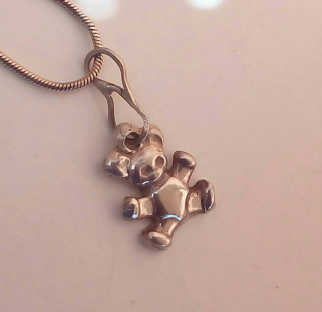 Teddy Bear Silver Pendant by MidasTouch Jewels in Wales