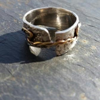 Stamped Silver and Gold Wedding Ring Handmade by MidasTouch Jewels in Wales