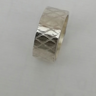 Cross Hatch Silver or Gold Wedding Ring by MidasTouch Jewels in Wales