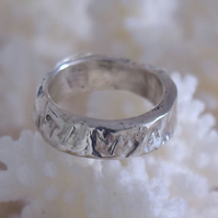 Sterling Silver Ring with Deep Reticulation Wedding Band by MidasTouch Jewels in