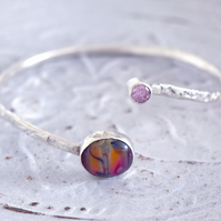 Silver Bangle Set with Pink Handmade Glass Bead and Pink CZ on Textured Band