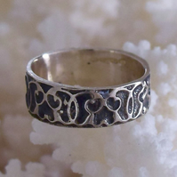 Sterling Silver Ring with Deep Etched Celtic Band by Handmade MidasTouch Jewels