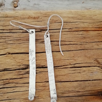 Sterling silver textured stick earrings set with CZ by Patsy from MidasTouch Jew